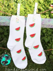 Hand Drawn melon design, unisex white socks, women's socks, ladies socks. Great gift ideas and for everyday use