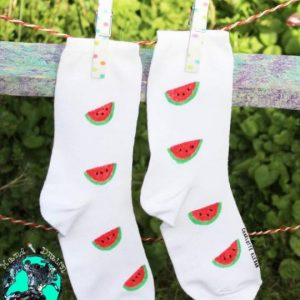 Hand Drawn melon design, unisex white socks, women's socks, ladies socks