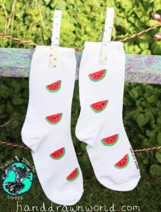 Hand Drawn melon design, unisex white socks, women's socks, ladies socks