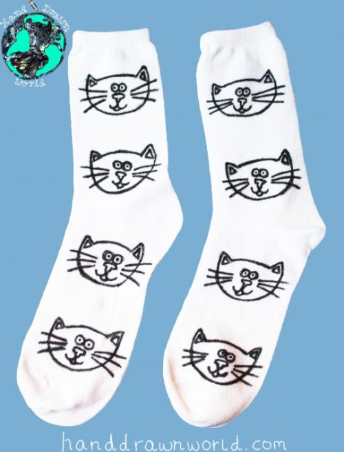 Hand Drawn cats design, unisex white socks, women's socks, ladies socks. Great gift idea