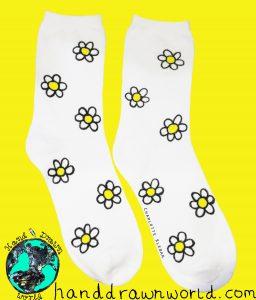 Hand Drawn daisy design, unisex white socks, women's socks, ladies socks. Great gift ideas & for everyday use