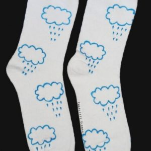 Hand Drawn Rain Clouds design, unisex white socks, women's socks, ladies socks