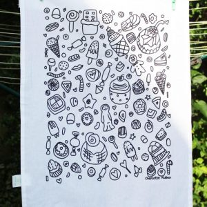 Hand Drawn confectionary design cotton screen printed tea towel. Great gift idea or for use in the kitchen