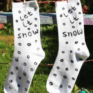 Hand Drawn 'Let It Snow' design, Christmas unisex white socks, women's socks, ladies socks. Great Christmas gift idea