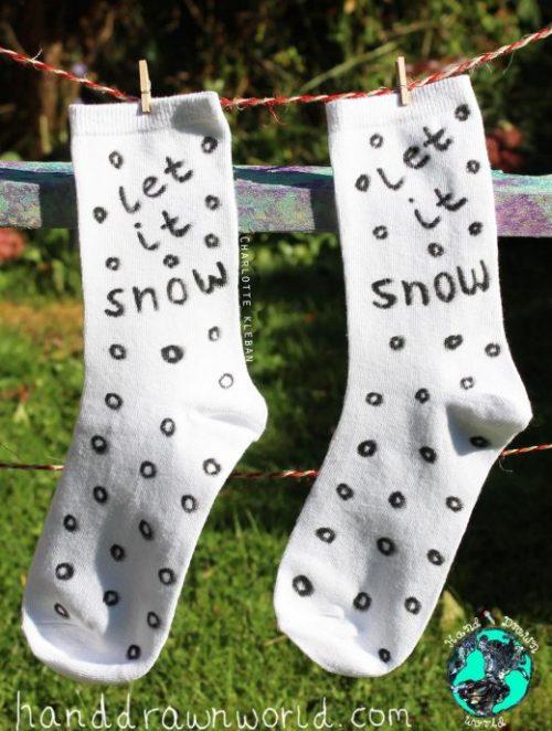 Hand Drawn 'Let It Snow' design, Christmas unisex white socks, women's socks, ladies socks. Great Christmas gift idea