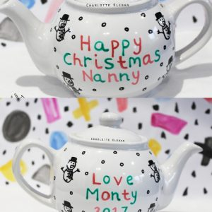 Hand Drawn personalised Christmas message design teapot, small teapot, large teapot, from Charlotte Kleban & Hand Drawn World