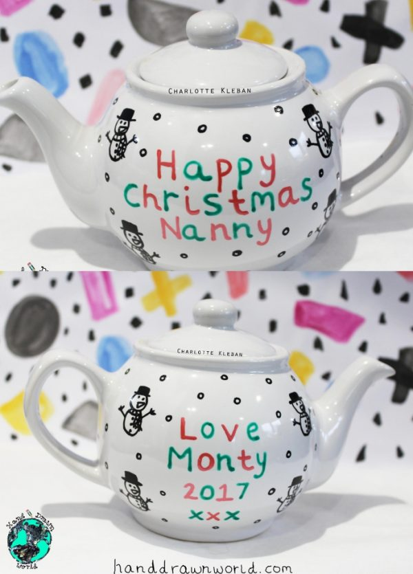 Hand Drawn personalised Christmas message design teapot, small teapot, large teapot, from Charlotte Kleban & Hand Drawn World. Lovely idea for a gift for a lovely nanny