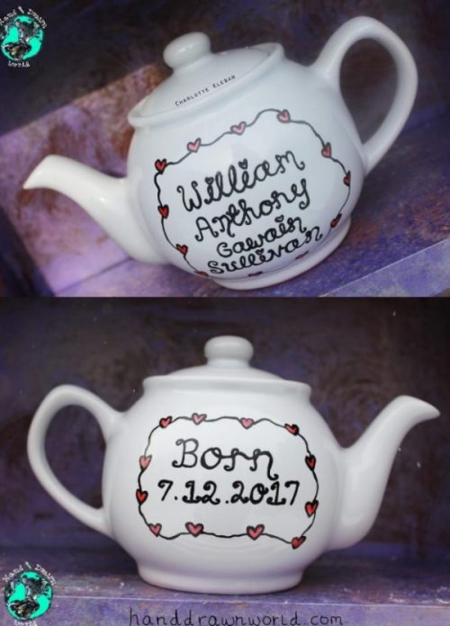 Hand Drawn New Baby Teapot by Charlotte Kleban Hand Drawn World. Great gift idea