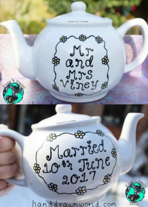 Hand Drawn personalised wedding day teapot, small teapot, large teapot, from Charlotte Kleban & Hand Drawn World. Lovely idea for a gift for a lovely couple