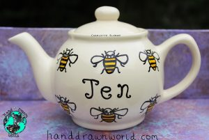 Personalised bee design teapot, small teapot, large teapot, from Charlotte Kleban & Hand Drawn World. Lovely idea for a gift for a lovely person