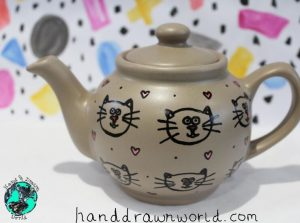 Hand Drawn cats design teapot, small teapot, large teapot, wedding gifts, Anniversary gift