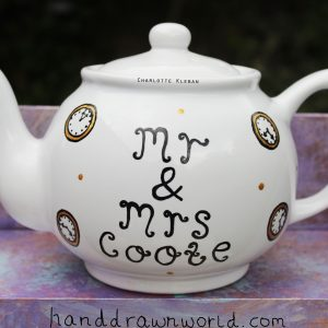 Hand Drawn clock design teapot gift set from Charlotte Kleban & Hand Drawn World. Lovely idea for a gift for a lovely couple
