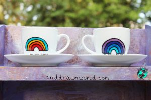 Hand Drawn Rainbow Design espresso cup from Charlotte Kleban & Hand Drawn World. Lovely idea for a gift