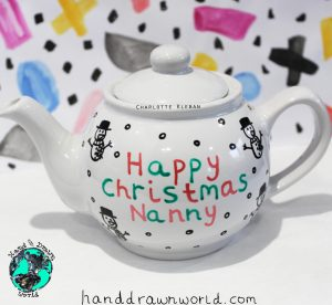 Hand Drawn personalised Christmas message design teapot, small teapot, large teapot, from Charlotte Kleban & Hand Drawn World. Lovely idea for a gift