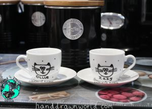 Hand Drawn Mr & Mrs Couple Design espresso cups & saucers set from Charlotte Kleban & Hand Drawn World. Great gift ideas