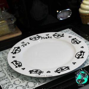 Hand Drawn Porcelain Dinner Plate with cat design