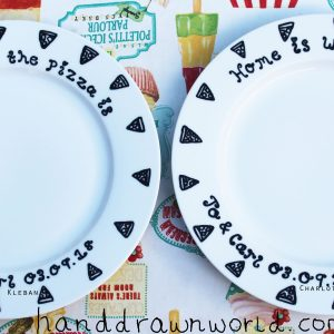 Hand Drawn Porcelain Dinner Plate Set Of 2 for a wedding anniversary