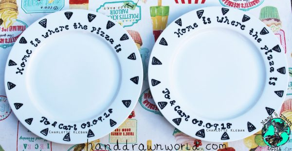 Hand Drawn Porcelain Dinner Plate Set Of 2 for a wedding anniversary. Lovely idea for a gift