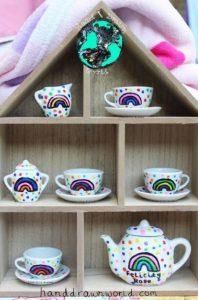 Children's Personalised Rainbow Polka Dot Tea Set from Charlotte Kleban & Hand Drawn World, Hand drawn & hand made. Great gift ideas