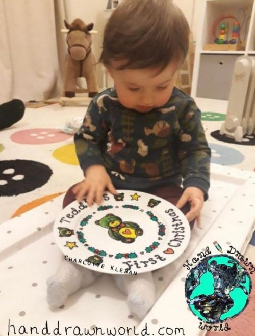 Baby Occasion Plate ~ Large decorative dinner plate for a special occasion such as First Christmas or Christening from Charlotte Kleban & Hand Drawn World, Hand drawn & hand made. Great gift ideas