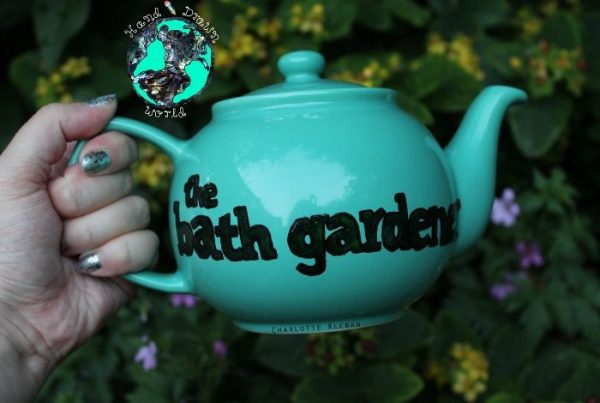 Personalised business design teapot, with business message, business logo from Charlotte Kleban & Hand Drawn World, Hand drawn & hand made. For business marketing.