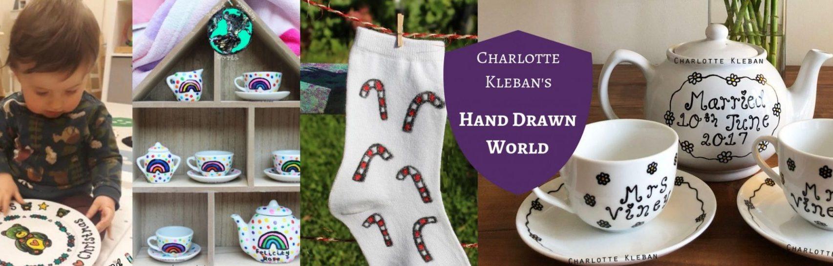 Hand Drawn World By Charlotte Kleban teapots, dinner plates, tea towels, teapot sets, unisex socks, espresso cups