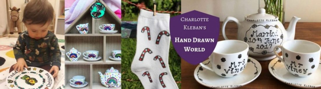 Charlotte Kleban, Hand Drawn World. Tea Pots. Gift Sets. Dinner Plates, White Unisex Socks, Espresso Cups, Christmas Gifts Every Day Things. For Yourself Or For Gift Ideas