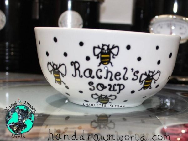 Hand Drawn Bees design bowl. For cereal, fruit, Great gift ideas