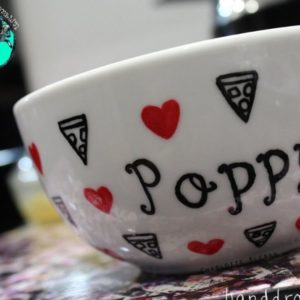 Hand Drawn Pizza design bowl. For cereal, fruit, Great gift ideas