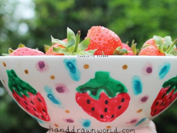 Hand Drawn Fruit design bowl. For cereal, fruit, Great gift ideas