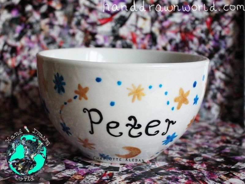 Hand Drawn Moon & Stars design bowl. For cereal, fruit, Great gift ideas